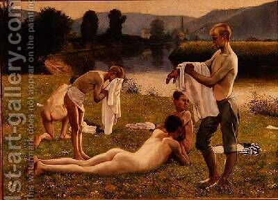 Boys Bathing by C. Kufferath - Reproduction Oil Painting
