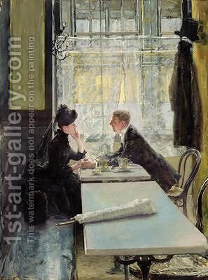 Lovers in a Cafe by Gotthardt Kuehl - Reproduction Oil Painting