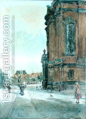 Street Scene near St Michaels Church in Hamburg by Gotthardt Kuehl - Reproduction Oil Painting