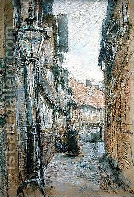 Street at Teilfeld by Gotthardt Kuehl - Reproduction Oil Painting