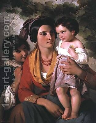 Mother and Children by Cornelis Kruseman - Reproduction Oil Painting