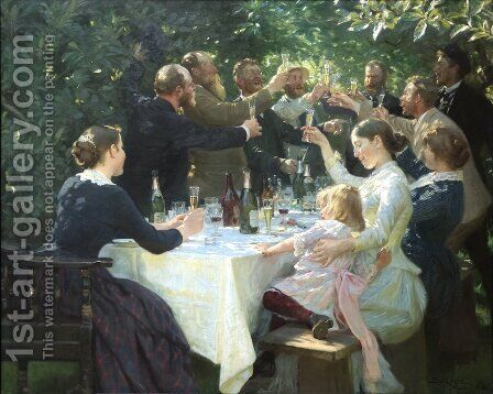 Hip Hip Hurrah Artists Party at Skagen by Peder Severin Kroyer - Reproduction Oil Painting