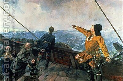 Leif Eriksson sights land in America by Christian Krohg - Reproduction Oil Painting