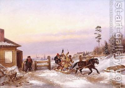 Bilking the Toll Gate by Cornelius Krieghoff - Reproduction Oil Painting