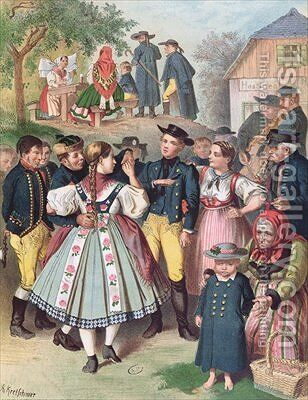 Village Fete in Bohemia by Albert Kretschmer - Reproduction Oil Painting