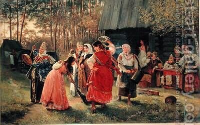 Girls Party by Alexei Korsuchin - Reproduction Oil Painting