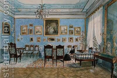The Salon of Madame Hanska 1801-82 in St Petersburg by Carl Ivanovitch Kollmann - Reproduction Oil Painting
