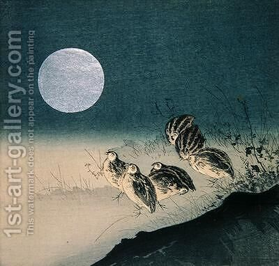 Quails and Full Moon by (attr. to) Kogyo, Tsukioka - Reproduction Oil Painting