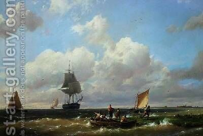 Off Helvoetsluys Isle of Voorne by Hermanus Koekkoek - Reproduction Oil Painting
