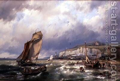 Sailing Vessels and a Cross Channel Packet off Folkstone by Hermanus Koekkoek - Reproduction Oil Painting