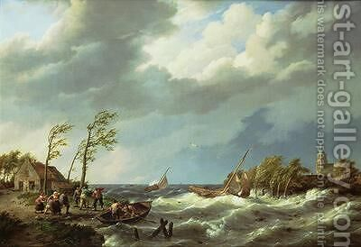 Dutch Fishing Vessel Caught on a Lee Shore with Villagers and a Rescue Boat in the Foreground by Hermanus Koekkoek - Reproduction Oil Painting