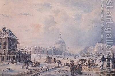 Figures on a Frozen Canal Amsterdam by Hermanus Koekkoek - Reproduction Oil Painting