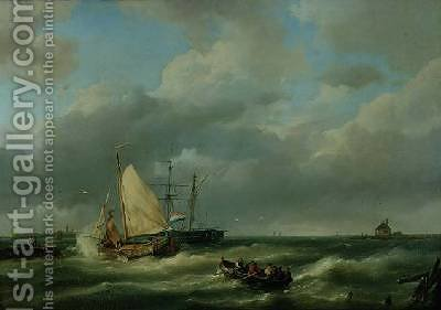 Estuary with fishing vessel and rowing boat by Hermanus Koekkoek - Reproduction Oil Painting