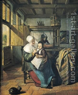 The Weavers Workshop by Issac Koedyck (Koedijck) - Reproduction Oil Painting
