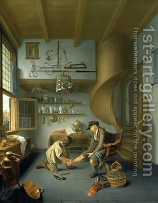 A Barber surgeon tending a peasants foot by Issac Koedyck (Koedijck) - Reproduction Oil Painting