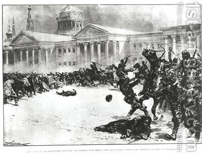 First Blood in the Revolution Repulsing the Strikers with Sword Whip and Gunshot opposite the Admiralty Building St Petersburg by H.W. Kockkock - Reproduction Oil Painting