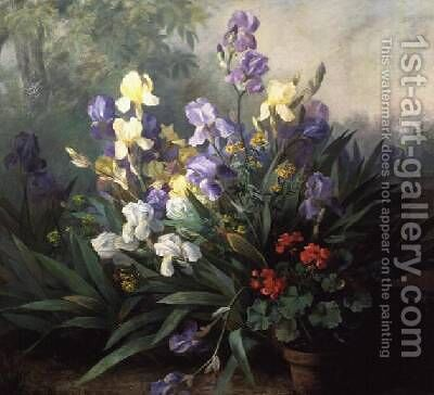 Floral Landscape with Irises by Barbara Koch - Reproduction Oil Painting