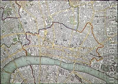 Map of London by Charles Knight - Reproduction Oil Painting