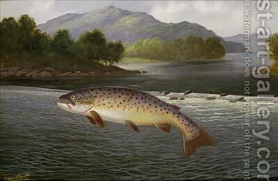 Hooked but not landed by A. Roland Knight - Reproduction Oil Painting