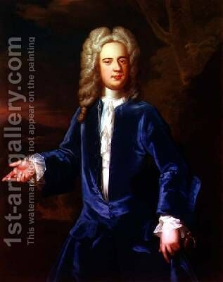 Portrait of a gentleman in a blue velvet coat by (after) Kneller, Sir Godfrey - Reproduction Oil Painting