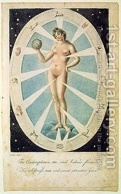 The Female Form with Astrological symbols by (after) Kneller, Sir Godfrey - Reproduction Oil Painting