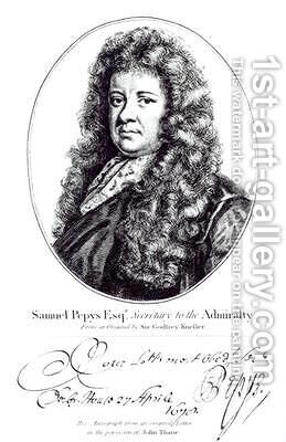Samuel Pepys 1633-1703 by (after) Kneller, Sir Godfrey - Reproduction Oil Painting
