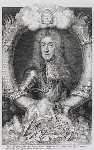 Portrait of James VII of Scotland II of England 1633-1701 by (after) Kneller, Sir Godfrey - Reproduction Oil Painting