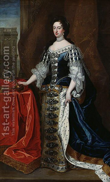 Portrait of Queen Mary 1662-94 by (after) Kneller, Sir Godfrey - Reproduction Oil Painting
