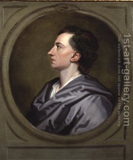 Portrait of Alexander Pope 2 by (after) Kneller, Sir Godfrey - Reproduction Oil Painting
