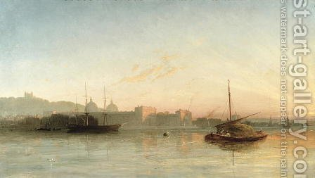 View of the Thames at Greenwich by (attr. to) Knell, William Adolphus - Reproduction Oil Painting