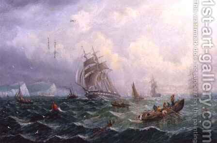 Shipping in Choppy Seas of Scarborough by Adolphus Knell - Reproduction Oil Painting