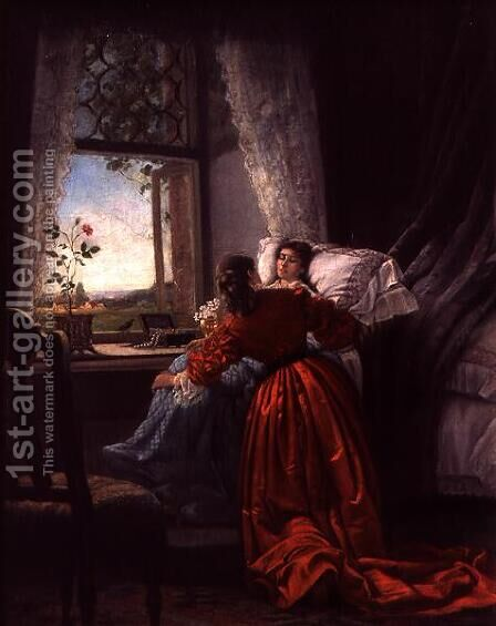 Beside a Sick Woman by Baron Mikhail Petrovich Klodt von Jurgensburg - Reproduction Oil Painting
