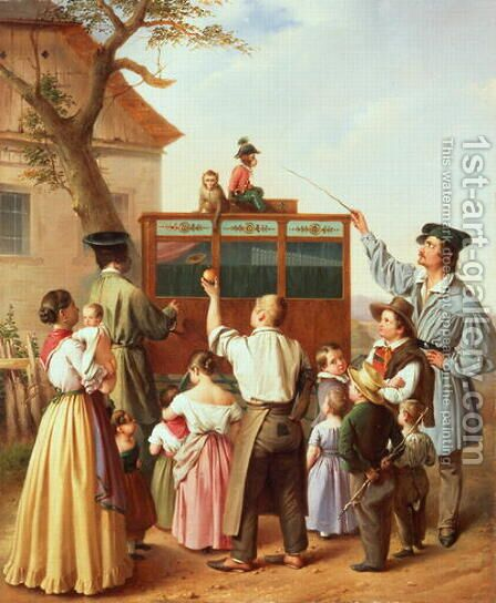 The travelling organ grinder by Edouard Klieber - Reproduction Oil Painting