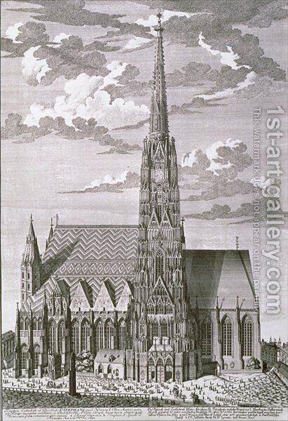 View of St Stephans Cathedral Vienna by (after) Kleiner, Salomon - Reproduction Oil Painting