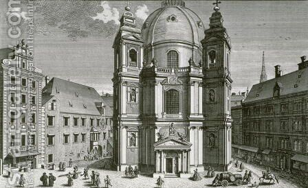 View of the Peterskirche Vienna by (after) Kleiner, Salomon - Reproduction Oil Painting