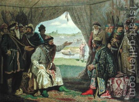 The Convention of Princes with Grand Duke Vladimir Monomakh II 1053-1125 at Dolob in 1103 by Aleksei Danilovich Kivshenko - Reproduction Oil Painting