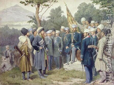 Caucasian Leader Shamil surrendering to Count Baryatinsky in 1859 by Aleksei Danilovich Kivshenko - Reproduction Oil Painting