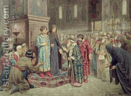 Council calling Michael F Romanov 1596-1645 to the Reign by Aleksei Danilovich Kivshenko - Reproduction Oil Painting