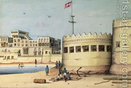View of Mocha from the Jetty from an Original drawing by Lieutenant Carlefs IN by J. Kirk - Reproduction Oil Painting