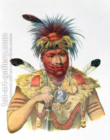 Ne Sou A Quoit a Fox Chief by (after) King, Charles Bird - Reproduction Oil Painting