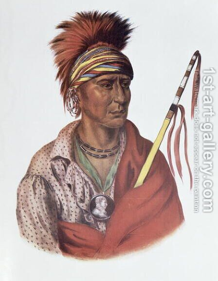 Notchimine or No Heart an Iowa Chief by (after) King, Charles Bird - Reproduction Oil Painting