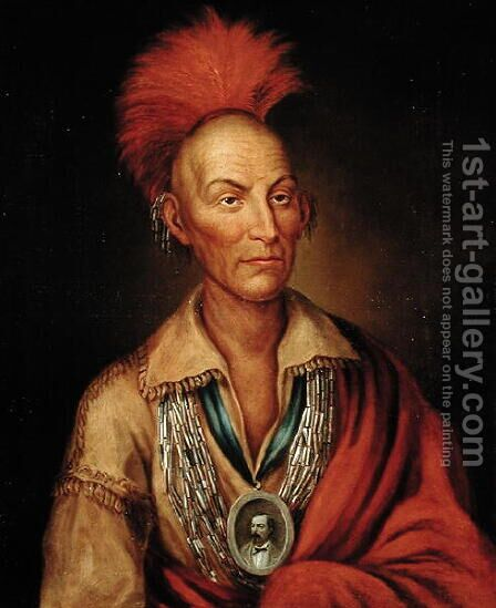 Portrait of Black Hawk 1767-1838 by Homer Henderson by (after) King, Charles Bird - Reproduction Oil Painting