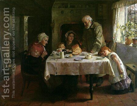 Grace Before Supper by Mary Evelina Kindon - Reproduction Oil Painting