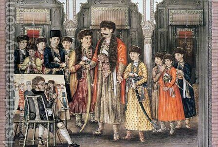 Shuja ud daula Nawab of Oudh 1754-75 and his Ten Sons by (after) Kettle, Tilly - Reproduction Oil Painting