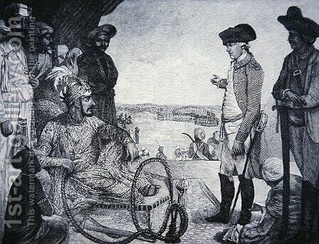 Shah Allum Mogul of Hindostan reviewing the East India Companys Troops by (after) Kettle, Tilly - Reproduction Oil Painting