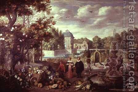 Garden Scene with Fountain by Jan van Kessel - Reproduction Oil Painting