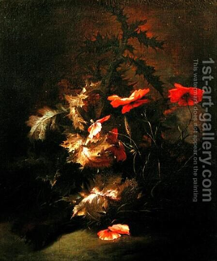 Thistles and Poppies by Jan van Kessel - Reproduction Oil Painting
