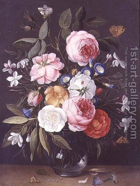 Still Life of Flowers in a Vase by Jan van Kessel - Reproduction Oil Painting