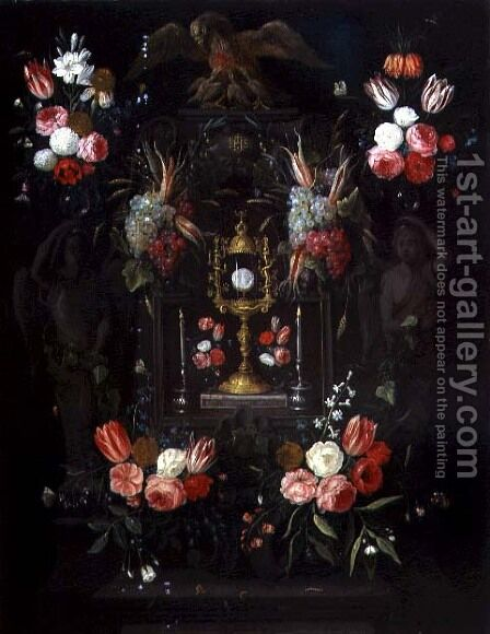 A Chalice with the Eucharist in a cartouche decorated with flowers and fruit by Jan van Kessel - Reproduction Oil Painting