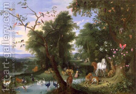 The Garden of Eden by Jan van Kessel - Reproduction Oil Painting